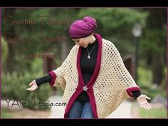 How to Crochet a Granny Square Cocoon Sweater Cardigan - YouTube