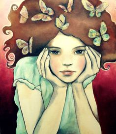 Dreamy girl 8 x10 inches art print