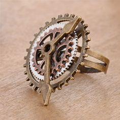 d2c3cd2ecb38e Punk Retro Charm Steampunk Gear Fingering Vintage 3 Rings Watch Clock  Copper Rings Fashion Party Jewelry for Women Men -