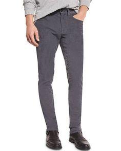 VINCE 718 Slim-Fit Skinny Corduroy Pants, Pewter. #vince #cloth #