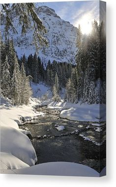 Winter Wonderland Canvas Print for sale. Lovely winter morning, the sun is shining, trees and mountains are covered with snow and look at this  beautiful river! Bärgunt valley, Kleinwalsertal, Austria. The image gets printed on one of our premium canvases and then stretched on a wooden frame, click through and check out your options. 30 days money back guarantee. Matthias Hauser - Art for your Home Decor and Interior Design.