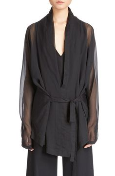 Ann Demeulemeester Tie Front Long Sheer Sleeve Blouse