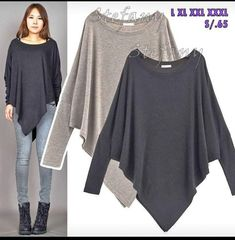 AnnaKastle New Womens Boat Neck Long Dolman Sleeve Asymmetrical Poncho Sweater Poncho Sweater, Knitted Poncho, Poncho With Sleeves, Fashion Sewing, Urban Fashion, Blouse Designs, Beautiful Outfits, Ideias Fashion, Casual Outfits