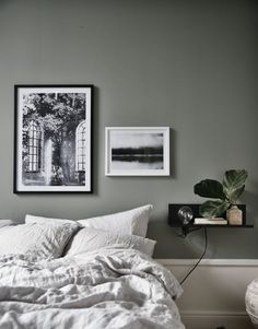 Home Remodel Bedroom Architectural Print Urban Poster Wall Art Architectural Grey Green Bedrooms, Bedroom Green, Bedroom Inspo, Home Bedroom, Serene Bedroom, Master Bedroom, Grey Room, Cozy Bed, Beautiful Interior Design