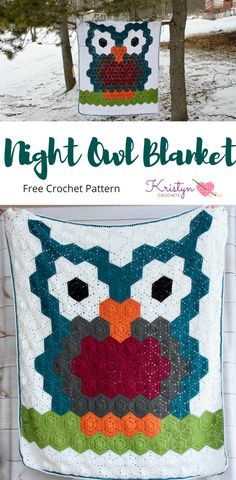 Free Pattern for the Night Owl Crocheted Blanket, features the easy hexagon motif, and the two halves of a hexagon, joined. This pattern included helpful photos and video.