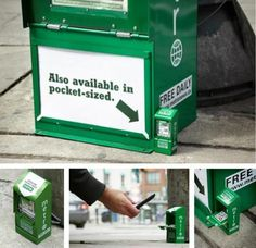 To promote the mobile version of the Metro newspaper in Canada, advertising agency Rethink came up with the following campaign. Their idea was to set up a mini dispenser including QR Code, once scanned you were redirected to the app of the newspaper.  http://www.arcreactions.com/#projects