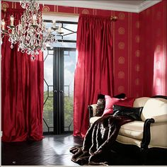Monochromatic window treatments. Red interiors. Ethan Allen red draperies. Ethan Allen furniture.