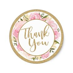 Pink & Gold Flower Wedding Thank You Round Sticker - gold wedding gifts customize marriage diy unique golden Wedding Thank You, Wedding Cards, Wedding Gifts, Wedding Invitations, Glitter Shirt, Gold Flowers, Wedding Flowers, Pink Und Gold, Blush Pink