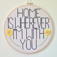 Embroidery Wall Decor  Home is Wherever I'm with by juliesgeneral