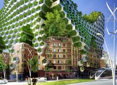Futuristic Paris Smart City includes a range of green building strategies ranging from passive heating and cooling to living green walls.