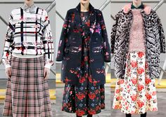 Milan Fashion Week –MSGM A/W 2013/14-Spliced Floral Prints – Florals Interwoven with Stripes – Vibrant Blooms – Florals Revealed – Mono-print Styles – Stencilled and Cut-out Looks – Intense Rich Backgrounds
