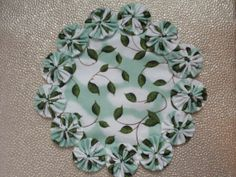 Leaves and Clouds Yo Yo doily penny rug style candle by SursyShop, $8.00