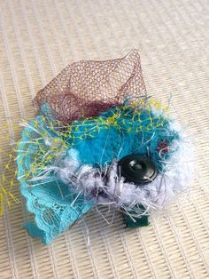 Turquoise and Teal Super Cute Hair Piece / Hair Clip : made with upcycled materials