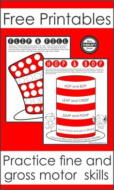 Here are two free Dr. Seuss printables to practice fine motor skills and gross motor skills.  Celebrate his birthday while you also work on hand strengthening and physical activity. Motor Skills Activities, Gross Motor Skills, Physical Activities, Learning Activities, Pediatric Occupational Therapy, Parents As Teachers, In Writing, Speech And Language, Pediatrics