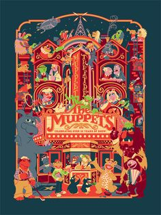 """Celebrational Theatre: 35 Years of the Muppet Show"" by James V. Carroll A limited edition, silkscreen poster print available now th. Elmo, Mejores Series Tv, Fraggle Rock, The Muppet Show, Neon Nights, Rainbow Connection, Kermit The Frog, Jim Henson, Silk Screen Printing"