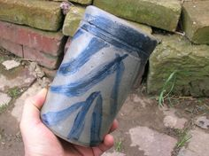 19c Antique Stoneware Pottery Canning Jar Primitive Blue Decorated Crock Bottle