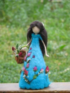 Waldorf inspired Needle felted roses lady blue by Made4uByMagic