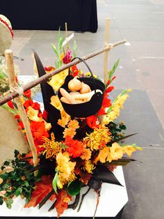 More vegetable and flower art combined in the Jorvik Viking Centre display.