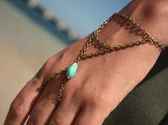 Turquoise Bead Hand Jewelry Piece Drape