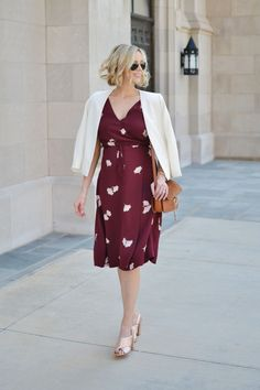Maternity floral wrap dress, white blazer, rose gold mules- Straight A Style