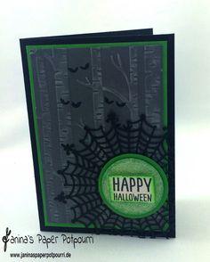 jpp - Gift Grüne Halloween Karte / Halloween Card / Stampin' Up! Berlin / Zwischen den Zweigen / Among the Branches / Sweet Hauntings / Embossingfolder Im Wald / Woodlands / Spiderweb Doilies / Zierdeckchen Spinnweben www.janinaspaperpotpourri.de
