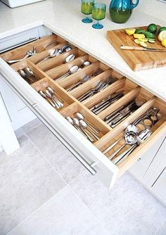 50 Smart DIY Kitchen Storage Solutions For Your Small Kitchen - Image 10 of 20 Kitchen Drawer Organization, Kitchen Storage Solutions, Diy Kitchen Storage, Kitchen Drawers, Storage Cabinets, Kitchen Cabinets, Kitchen Countertops, Soapstone Kitchen, Kitchen Utensils