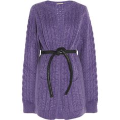 Christopher Kane Mohair-blend fisherman cardigan ($425) ❤ liked on Polyvore featuring tops, cardigans, sweaters, jackets, outerwear, purple, purple cardigan, long sleeve tops, long cardigan and long cardi