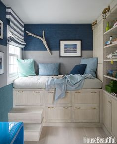 Tiny house storage ideas - i this Elevated Daybed with all the storage underneath and the built-in bookshelves