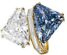 Rare triangular cut carat fancy vivid blue diamond paired with a carat triangular cut white diamond Colored Diamond Rings, Blue Rings, Colored Diamonds, Most Expensive Jewelry, 77 Diamonds, Beautiful Diamond Rings, Heart Shaped Diamond, Bvlgari, Stone Necklace