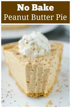 Creamy and delicious No Bake Peanut Butter Pie with a graham cracker crust. Only 6 ingredients, so easy, and everyone will be begging for the recipe! Tart Recipes, Sweet Recipes, Baking Recipes, Fudge Recipes, Candy Recipes, Yummy Recipes, Easy Peanut Butter Pie, Peanut Butter Recipes, Peanut Butter Pie Recipe No Bake