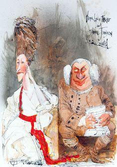Hester Lynch Thrale & Samuel Johnson, drawn by Ralph Steadman.