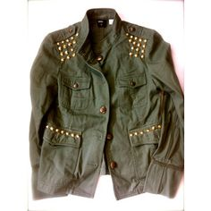 Womens Vintage Rock Military Jacket - Army Green with Gold ROCKER Cone Studs Size M - Custom One-of-a-Kind
