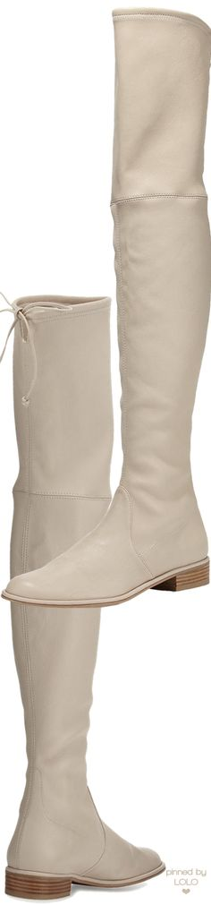 Stuart Weitzman Lowland Leather Over-the-Knee Boot, Pan | LOLO❤︎