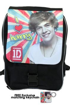 """One Direction Large Backpack, """"Harry Styles in Retro"""", Limited Edition with Free Exclusive Keychain One Direction Store, One Direction Gifts, I Love One Direction, All In One, Harry Styles, First Love, Backpacks, Retro, Amazon"""