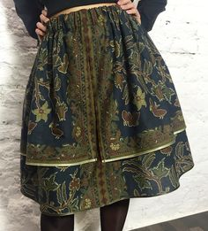 Designer double-layered Herbs skirt. Made of ethnic cotton.