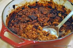 Baked Beans. Perfect with leftover pulled pork.1 lb beans  1 large onion 1 tsp. dried mustard powder  1 bay leaf 1/3 cup brown sugar 1 tsp. salt  Whatever leftover ham, pork, bacon, or sausage (including hot dogs) you may have (1 1/2 cups of meat cut up into chunks is fine). Try coffee. Slow cooker