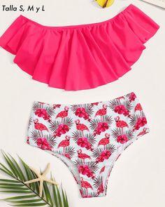 To find out about the Neon Pink Tiered Layer Bardot Top With Tropical Bikini at SHEIN, part of our latest Bikinis ready to shop online today! Bikini Floral, Bikini Bandeau, Tankini, Bikini Swimwear, Bikini Dress, Curvy Swimwear, Cheap Swimsuits, Women Swimsuits, Swimwear Australia