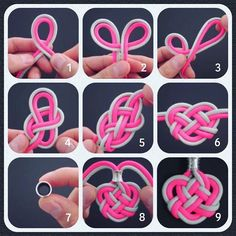 Double Celtic Heart Knot Medallion - Step-by-Step (image) Instructions - Video instructions feat. on my website, FusionKnots. Rope Crafts, Easy Diy Crafts, Yarn Crafts, Paracord Knots, Paracord Bracelets, Paracord Keychain, Bracelet Knots, Bracelet Crafts, Jewelry Crafts