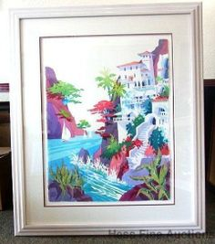 Lg Orig Kenneth Hawk Italian Tropical Seascape Portofino Watercolor Painting 1
