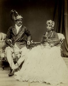 Indian Maharajah and his wife, 1880's - You and Sky happier of course.  This kind of Old elegance and nuff-ness lol