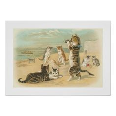 Cats at the Beach, Vintage Art Poster Shower Curta by VivianAllen - CafePress Vintage Greeting Cards, Vintage Postcards, Vintage Images, Poster Vintage, Vintage Prints, 6 Images, Free Images, Cats Tumblr, Beach Posters