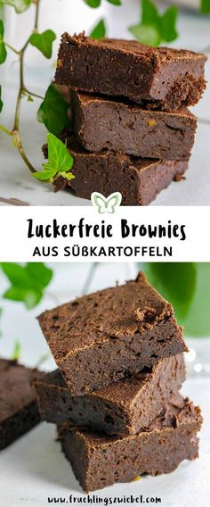 From sweet potatoes you can make great juicy brownies. They are sweetened with dates and some agave syrup without additional sugar. # sweet potato The post Sweet potato brownies sugar free recipe appeared first on Win Dessert. Fall Desserts, Low Carb Desserts, Healthy Dessert Recipes, Cupcake Recipes, Baby Food Recipes, Snack Recipes, Chewy Brownies, Healthy Brownies, Baking Brownies