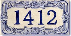 French Style House Number address tile