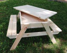 Table de pique-nique/bac à sable w/amovible maison meubles