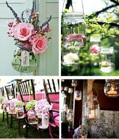 Mason jars wedding ideas love the top two photos