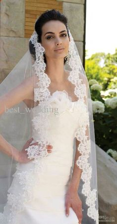 Cheap long bridal veil, Buy Quality tulle wedding veil directly from China wedding veil Suppliers: Cathedral Long Bridal Veils Green Gold Lace Beads Custom Tulle Wedding Veil Hijab Custom Mantilla Comb Bridal Veils Wedding Dress With Veil, Tulle Wedding, Wedding Veils, Wedding Dress Styles, Ivory Wedding, Bridal Headpieces, Bridal Gowns, Marie, Wedding Hairstyles