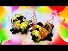 Поделки для детей своими руками.Зверюшки для детей.Поделка пчелка из лент. - YouTube