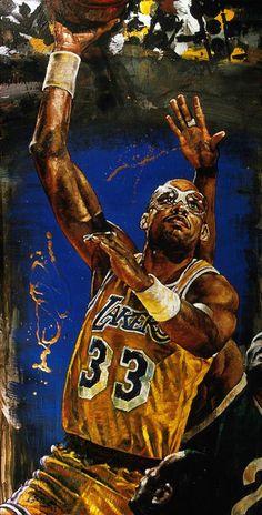 Kareem Abdul Jabar Lakers by Stephen Holland Basketball Couples, Basketball Boyfriend, Basketball Art, Basketball Pictures, Basketball Legends, College Basketball, Basketball Players, Nba Players, Basketball Videos