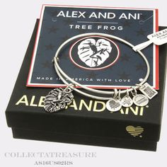 Authentic-Alex-and-Ani-Tree-Frog-Rafaelian-Silver-Charm-Bangle