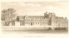 Birth place of Henry VIII and Elizabeth I. The Tudor palace of Greenwich was demolished in the century and the Old Royal Navy College now stands on the site. There are remains of the cellars of the old palace under the Queen Anne Block of the College. Anne Of Cleves, Anne Boleyn, Mary I, Queen Mary, Queen Anne, Tudor History, British History, Greenwich Palace, Houses